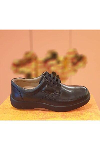 Esse Erkek Siyah Hakiki Deri Anatomik Taban Bağcıklı  Günlük Ayakkabı 505