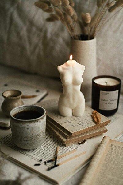 Aktar Diyarı Doğal Vanilya Kokulu El Yapımı Dekoratif Beyaz Mum
