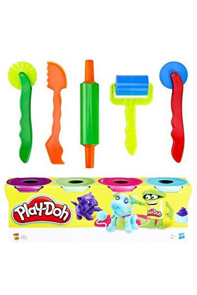 Play Doh l Oyun Hamuru 448 gr 4 Renk + Brons Merdane Bıçak Seti Oyun Hamuru Kalıpları