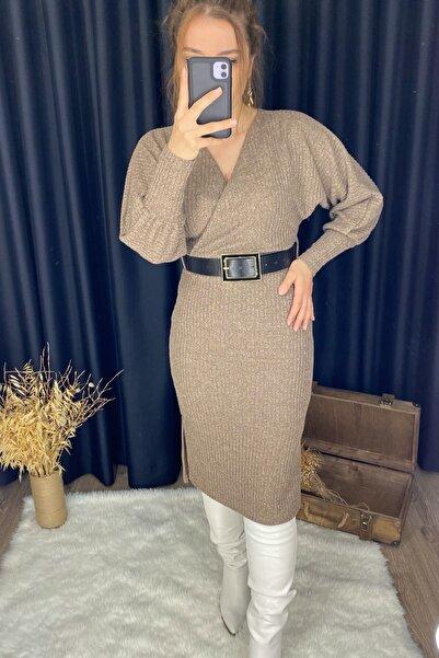 KüButik Kadın Kemerli Midi Boy Vizon Triko Elbise