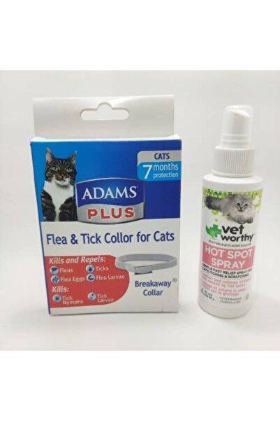 Adams Abd Ithal Kedi Pire Tasması + Vet Worthy Kedi Kaşıntı Giderici Hot Spot Sprey