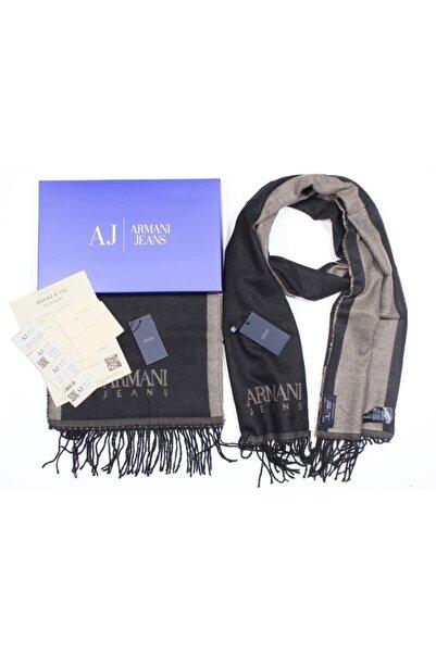 Armani Jeans Aj Jeans Logolu Unisex Lüks Marka Kahverengi Atkı Kaşkol