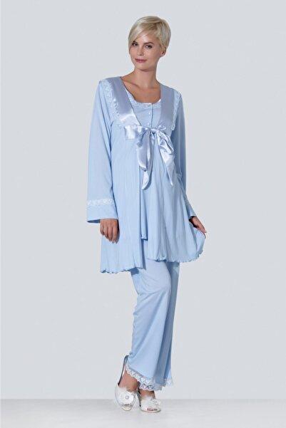 Ebru Maternity Kadın Mavi Hamile Lohusa Pijama 3'lü Takım