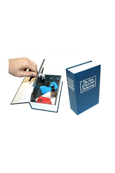 Raicon Kitap Şeklinde Gizli Kasa Hırsız Kilitli Sözlük Para Kumbarası-mavi