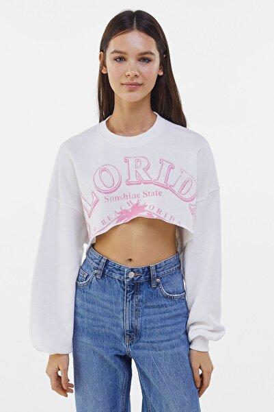 Bershka Baskılı Crop Fit Sweatshirt