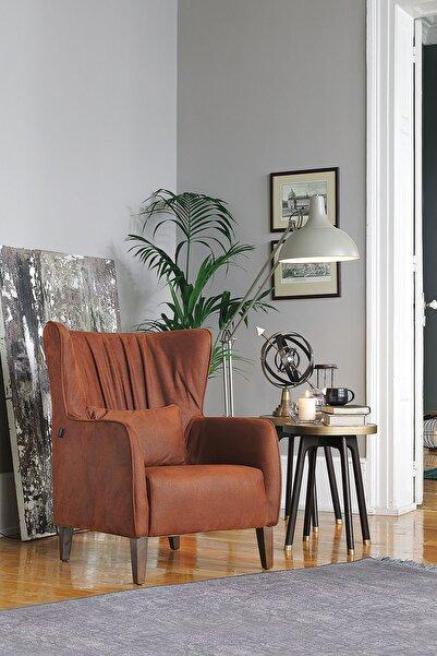 Enza Home Elegante Kahverengi Deri Desenli Berjer