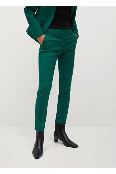 MANGO Woman Kadın Koyu Yeşil Dar Kesim Pantolon