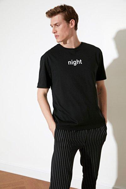TRENDYOL MAN Siyah Sloganlı Örme Pijama Takımı THMAW21PT0393