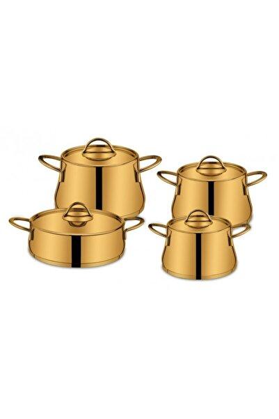 SILA Çelik Tencere Seti Tam Gold Çeyiz Seti 8 Parça