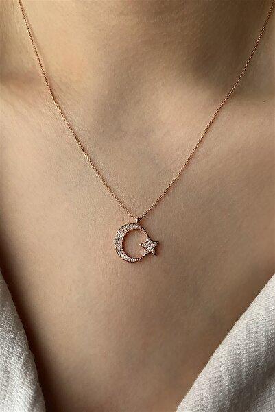 Ziu 925 Ayar 3 Gram Zirkon Taşlı Ay Yıldızlı Gümüş Kolye Uzunluk 45 cm