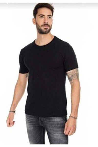 mystery boutigue Erkek Siyah Basic Pamuklu Kısa Kollu Bisiklet Yaka Slim Fit T-shirt