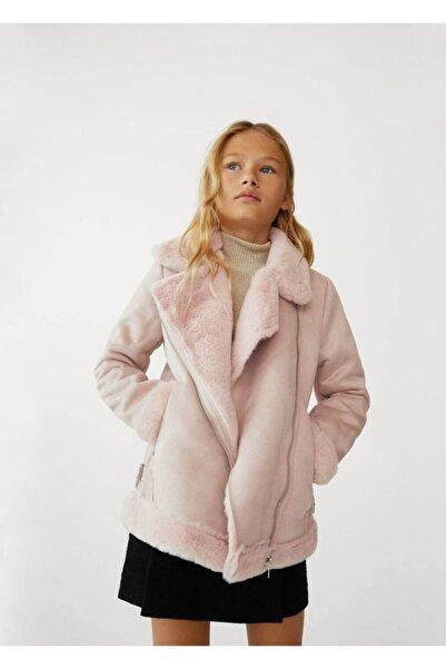 MANGO Kids Çocuk Pembe Suni Kürk Astarlı Ceket