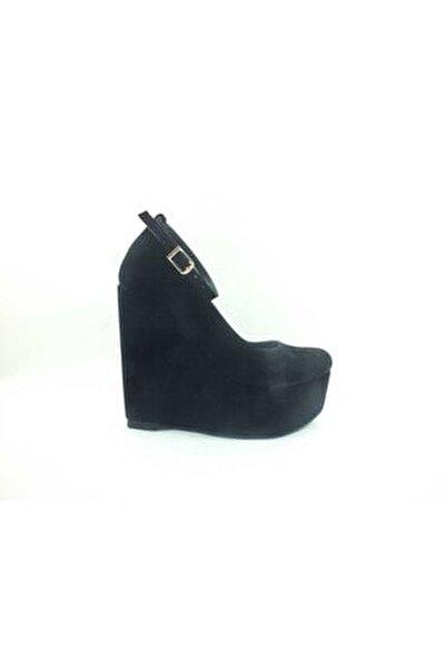 Dolgu Topuklu Platform Bayan Ayakkabı - Siyah-süet - 190