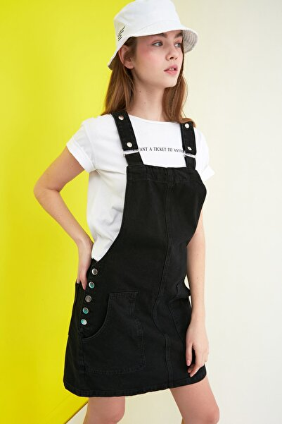 TRENDYOLMİLLA Siyah Askılı Denim Elbise TWOSS20EL0969
