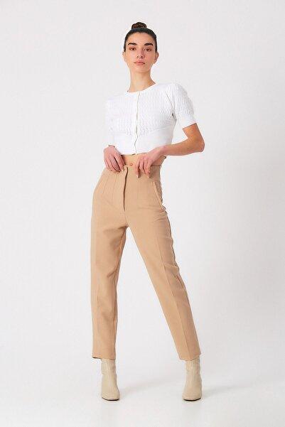 Robin Kadın Camel Cepli Kumaş Pantolon