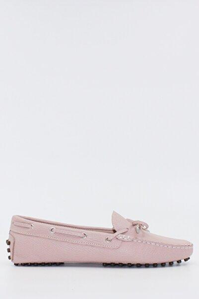 West To West Kadın Pudra Deri Loafer Ayakkabı