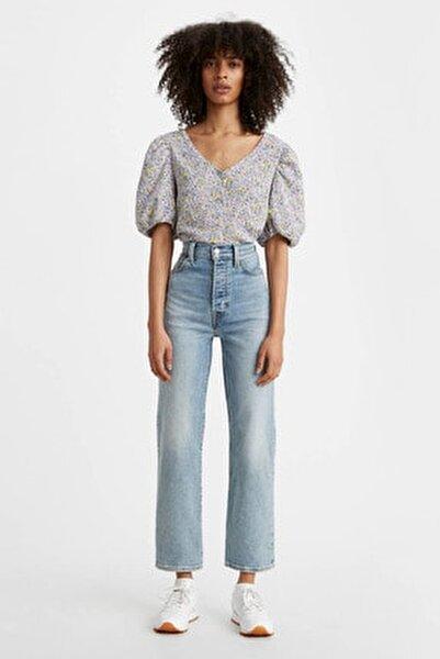 Kadın İndigo Yüksek Bel Jean