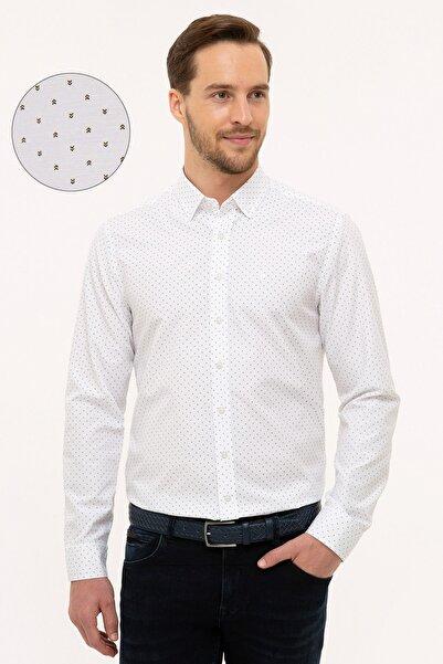 Pierre Cardin Erkek Yeşil Detaylı Beyaz Slim Fit Gömlek G021GL004.000.1112599