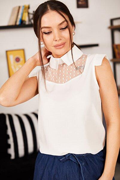 armonika Kadın Beyaz Yakalı Tüllü Bluz ARM-21K001154