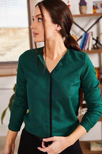 armonika Kadın Zümrüt Önü Biyeli Bluz ARM-20K001023