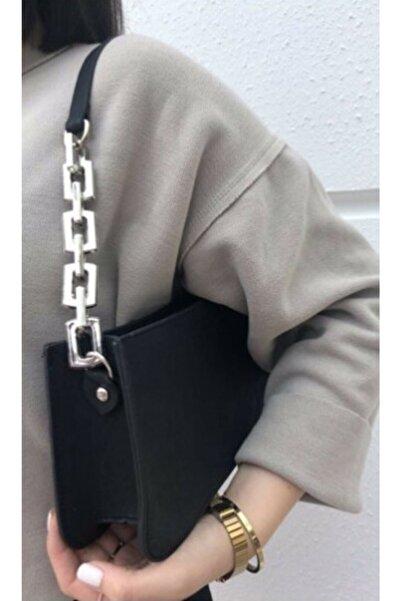 CE-CE Siyah Kadın Zincir Detaylı Baget Çanta