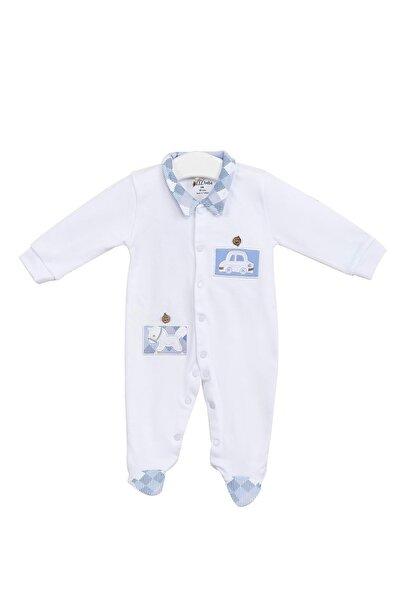 Aziz Bebe Erkek Bebek Beyaz Çıtçıtlı Uzun Kollu Gömlek Yaka Tulum Azz006688