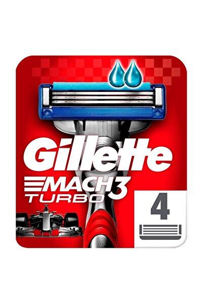 Gillette Mach3 Turbo 4'lü Yedek Tıraş Bıçağı Kırmızı Seri