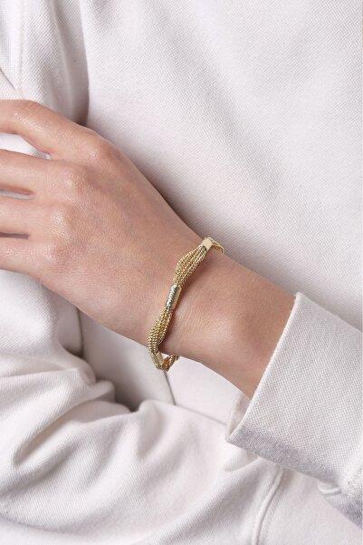 Marjin Kadın Çoklu Tel Tasarım Altın Renkli Bileklikaltın