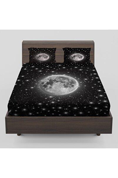 Osso Halı Beyaz Ay Yıldızlar Galaksi Desenli Lastikli Çift Kişilik Lastikli Çarşaf Takımı 160x200 cm