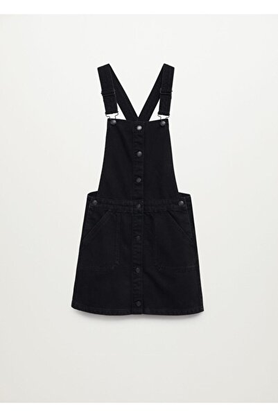MANGO Kids Kız Genç Siyah Kot Jile Elbise