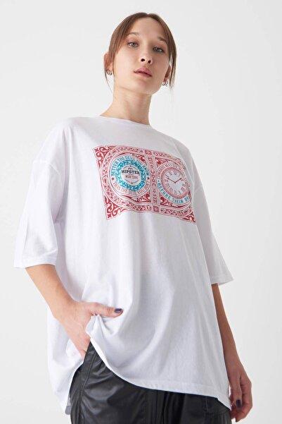 Addax Baskılı T-shirt P1048 - E6