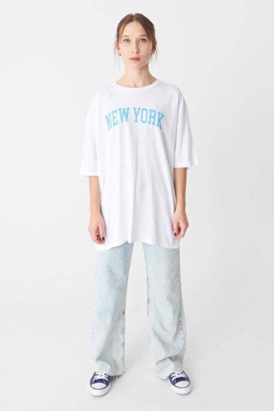 Addax New York Yazılı T-shirt P1030 - J4