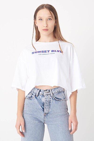 Addax Yazılı Lazer Kesim T-shirt P0975 - T11