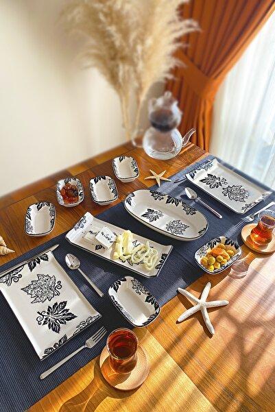 Kitchen Feel 4 Kişilik 12 Parça Kahvaltı Takımı Dikdörtgen Yaprak Desen El Dekoru