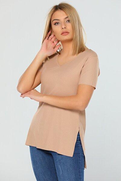 julude Kadın V Yaka Yanları Yırtmaçlı Kaşkorse T-shirt