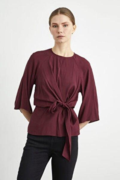 Kadın Bordo Önden Bağlamalı Bluz
