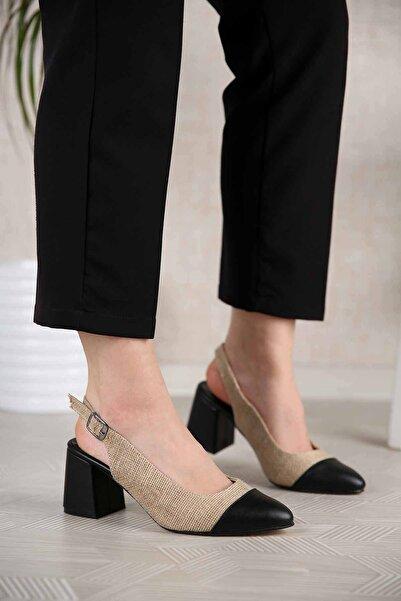 Ccway Kadın Hasır Topuklu Sandalet