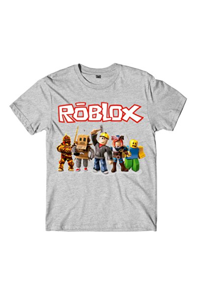 TakeTshirt Roblox Çocuk Tişört Gri Unisex