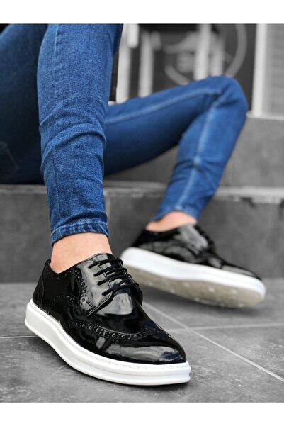 BOA Ba0003 Bağcıklı Klasik Siyah Beyaz Taban Rugan Yüksek Taban Casual Erkek Ayakkabı