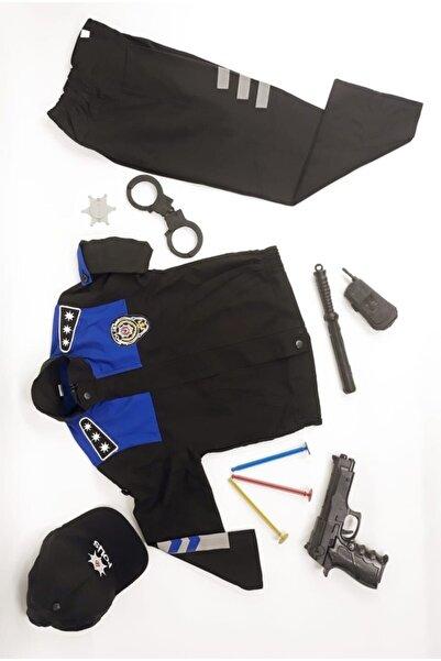 fabrikoloji Unisex Çocuk Mavi Siyah Sivil Toplum Polisi Kostüm Kıyafeti