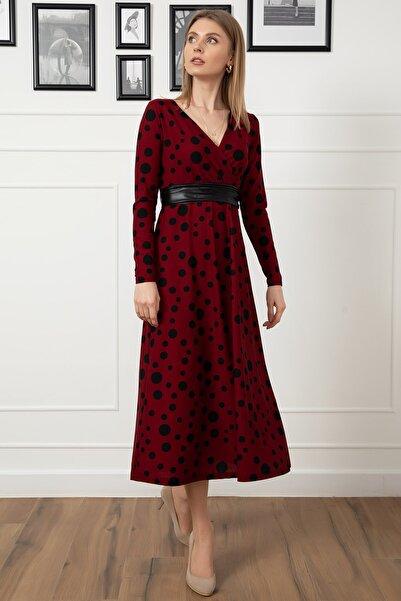 Nazenin Kruvaze Yaka Puantiyeli Elbise