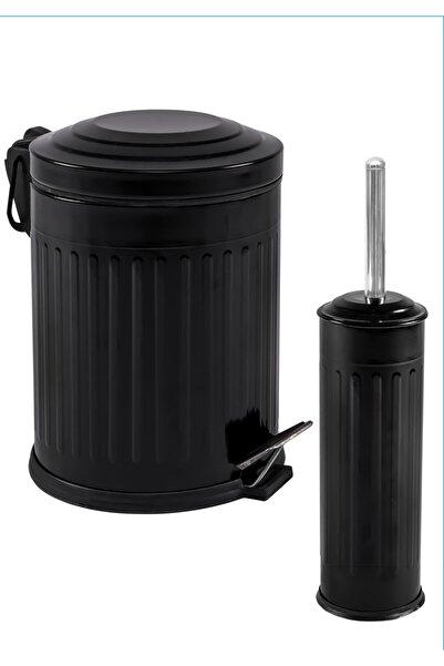 Foreca Vintage 2 Li Çöp Kovası Banyo Seti Çizgili Siyah