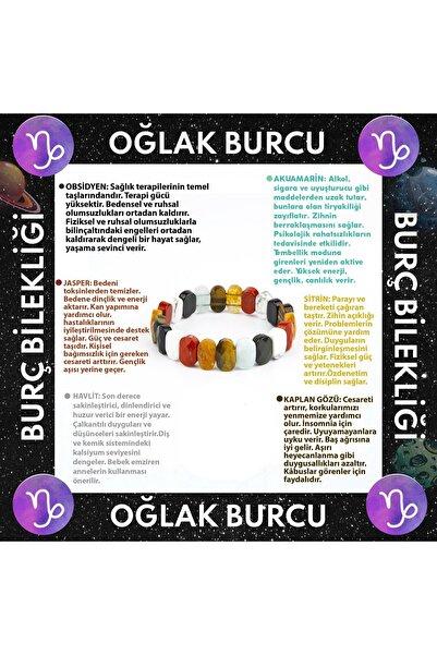 OSMANLI DOĞAL TAŞ Oğlak Burcu Rolex Bileklik Obsidyen-akuamarin-jasper-sitrin-havlit-kaplan Gözü