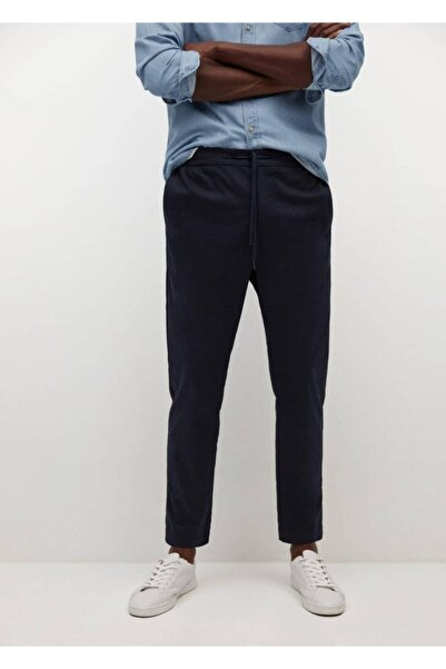MANGO Man Erkek Lacivert Jogger Tarz Pamuklu Pantolon