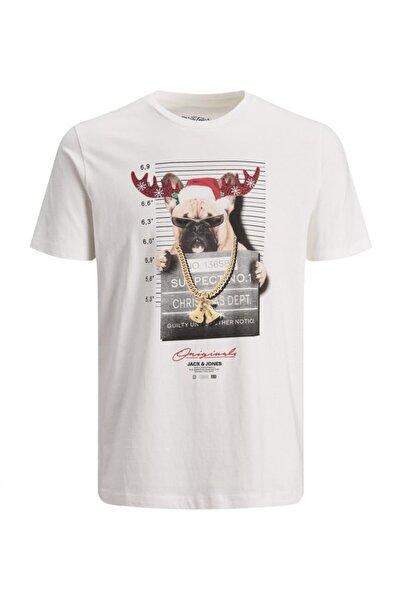 Jack & Jones Erkek Jorcrımınal Tee Ss Crew Neck Xmas T-shirt 12180476