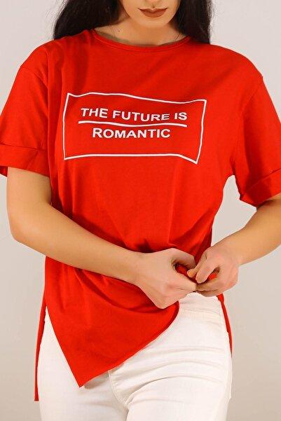 Lukas Kadın Kırmızı Yazı Baskılı Tişört - 5081.