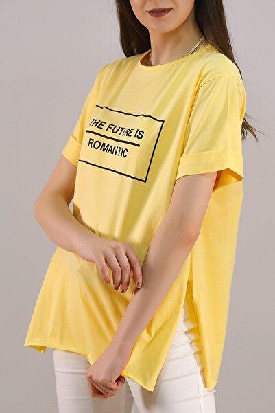 Lukas Yazı Baskılı Tişört Sarı - 5081.
