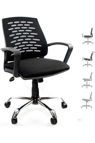 Fabrika Sers Çalışma Sandalyesi Siyah Ofis Krom Ayak Petek Fileli Şef Ofis Çalışma Koltuğu