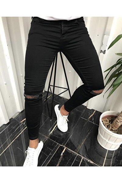 Moon Fashion Erkek Siyah Denim Dizden Yırtık Likralı Kot Pantolon
