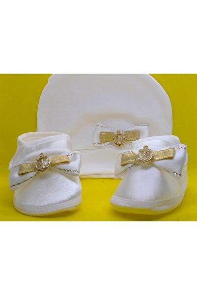 BUKAWEAR Erkek Bebek Ekru Yeni Doğan Ayakkabı Şapka 2'li Set Takım
